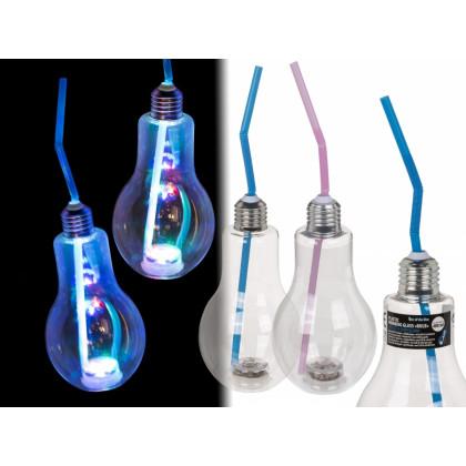 LED party pohár so slamkou v tvare žiarovky